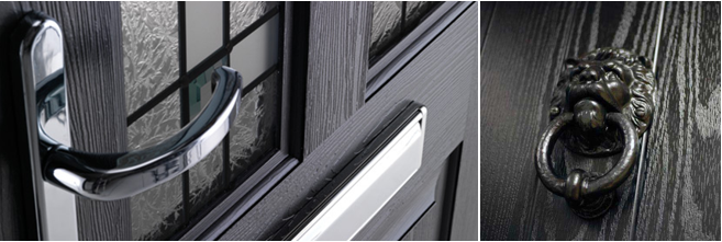 Black Composite Front Door With Wood Grain Finish