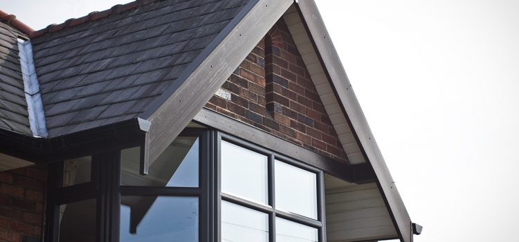 black double glazed casement windows bay